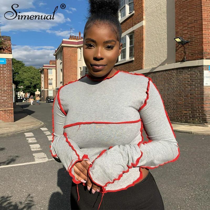Simenual Moda Patchwork Casual Kadınlar Mahsul Sokak Stili Uzun Kollu Sonbahar 2020 Tişörtlü Sıska BODYCON Katı Kadın Üst Tops