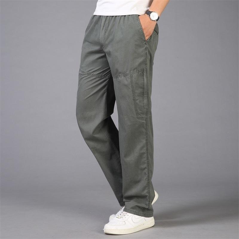 Мужчины грузовые штаны мужские повседневные карманы большой размер 5xL дышащие брюки мужчины большие и высокие летние прямые длинные брюки Homme 201109