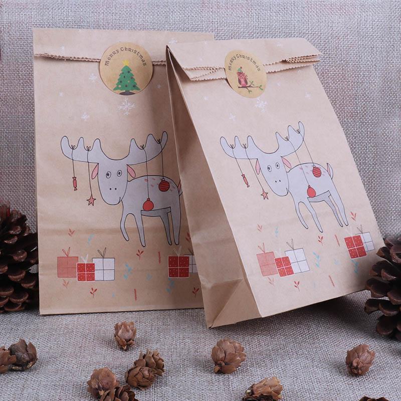 sacs 12ps noël sacs de bonbons renne sac de papier décoration de Noël Autocollants de Noël biscuits emballage Navidad Noël natal