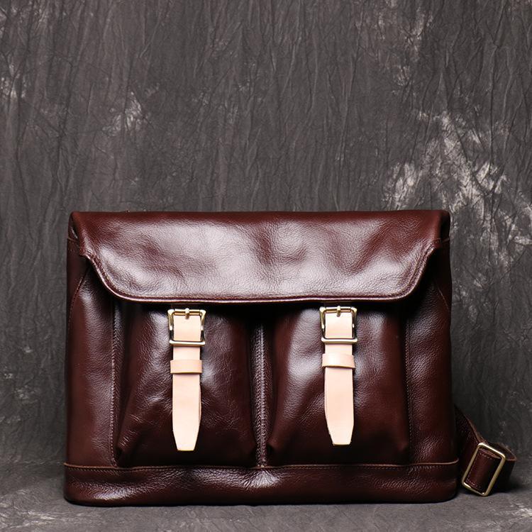 Style décontracté Huile Waxy en cuir d'affaires Sac hommes en cuir véritable Porte-documents Sac Top Designer de documents Messenger Case Sacs