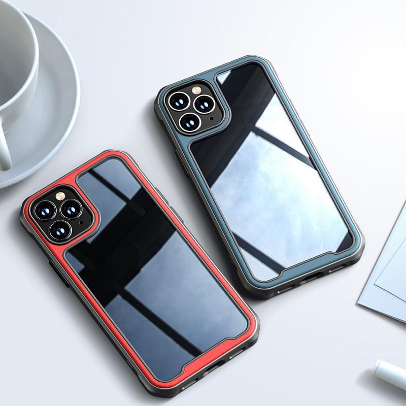 caja del teléfono móvil es adecuado para Iph 12 nueva TPU caja del teléfono móvil transparente + PC para 12 pro airbag anti-max caer cubierta protectora