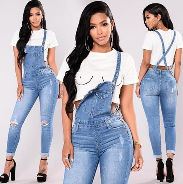 2021 Female Popular Washed Fashion Jeans Overalls Casual Ripped Denim Pants Women Fitness High Waist Jumpsuits Fashion Rompers #3
