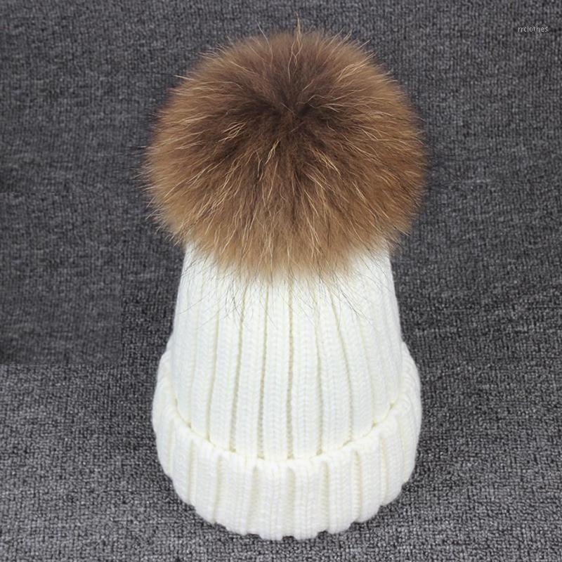 Femmes CLULLIES 100% REAL RACCOON GRAND FUR POMPON POMPON Chapeaux moelleux adulte hiver Ponpon Casquettes Pompom Femelle Pumpon tricoté Bonnet Girls1