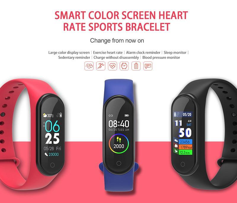새로운 M4 스마트 밴드 방수 피트니스 트래커 시계 Fitbit 스타일 SmartBand 모니터 건강 팔찌 지원 안드로이드 iOS 지원