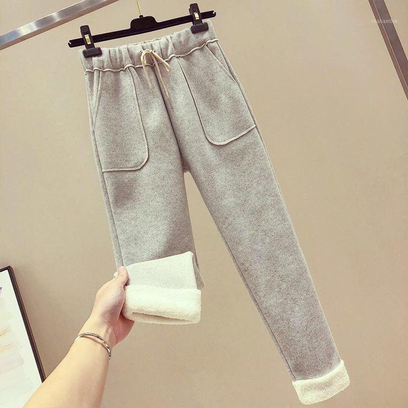 Calças térmicas de lã neve calças quentes mulheres desgaste 2020 novo estilo coreano cintura alta casual perna larga woolen1