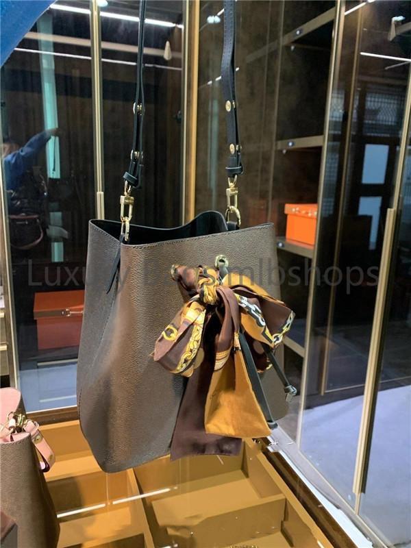 Ücretsiz İpek Atkılar kadın Kova Omuz Çantaları Escale Neonoe Crossbody Çanta Hakiki Deri Çanta Ayarlanabilir Kayış Moda Crossbody Çanta