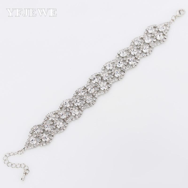 2020 Pulseras de boda Brazaletes Nueva Llegada Estrella completa Super Shiny Rhinestone Crystal Ladies Link Chain Pulseras B015