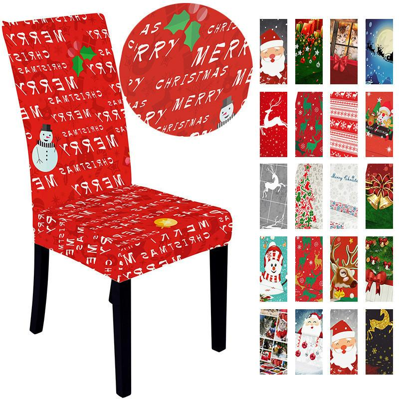 Christmas Stretch Chair Cover Merry Xmas Spandex New Year Elastic Covers Hotel Restaurant Decoration GWE1705
