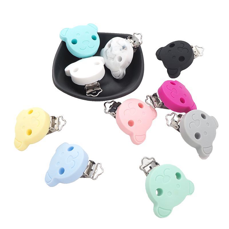 Hediye 201.017 DIY Bebek Çiğneme emziği Zinciri için Chenkai 10pcs Silikon Ayı Klipler Bebek Hayvan emziği Klip Sahte akıcı Tutucu