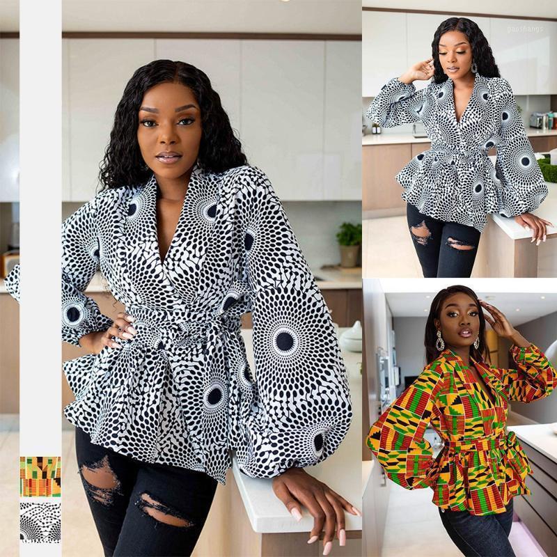 Мода V-образным вырезом Африканская рубашка Платья для женщин Sexy Dashiki Blouse Tops с поясным фонариком Вершина Женщины Африканская Одежда1