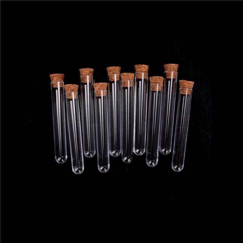 10 unids / lote 12x75 / 12x100 / 15x100 / 15x150mm Tubo de ensayo de plástico de laboratorio con corcho claro Lab Lab Tube de regalo, botella recargable