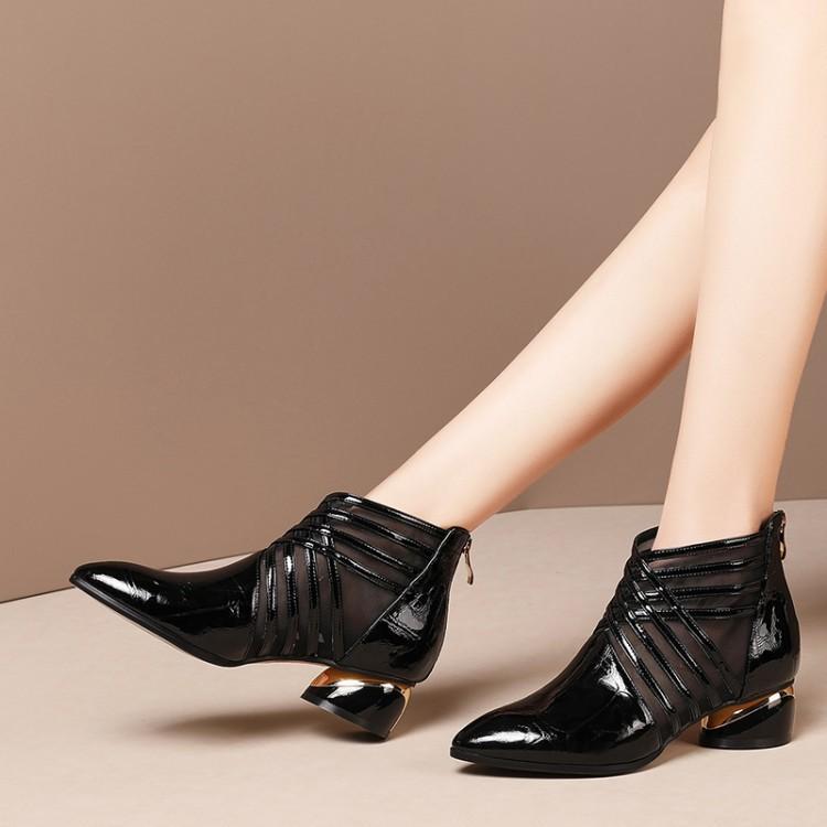 Echtes Leder Lou Kong Wang Boots Spitzschuh Chunky Heel Verbandsmull kurze Stiefel n Halb Hig Lady Schuhe -40