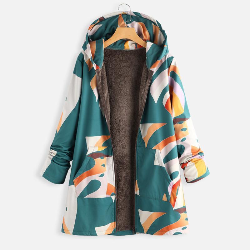 2019 осень зима женщин сращивание печати пальто с капюшоном с капюшоном открыть передний теплый верхний вариант одежды пальто плюс размер манто куртки Femme # 41