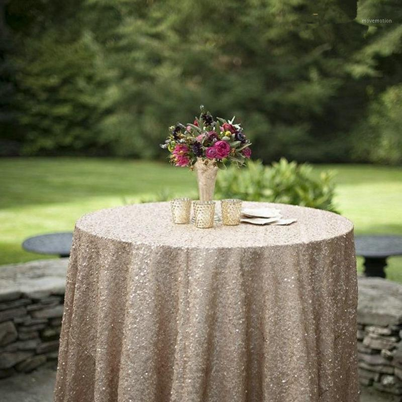 Champange Tablecloth 60x102in Glitter Round Rectangular Embroidered Sequin Table Cover for Wedding Party Christmas Decoration1