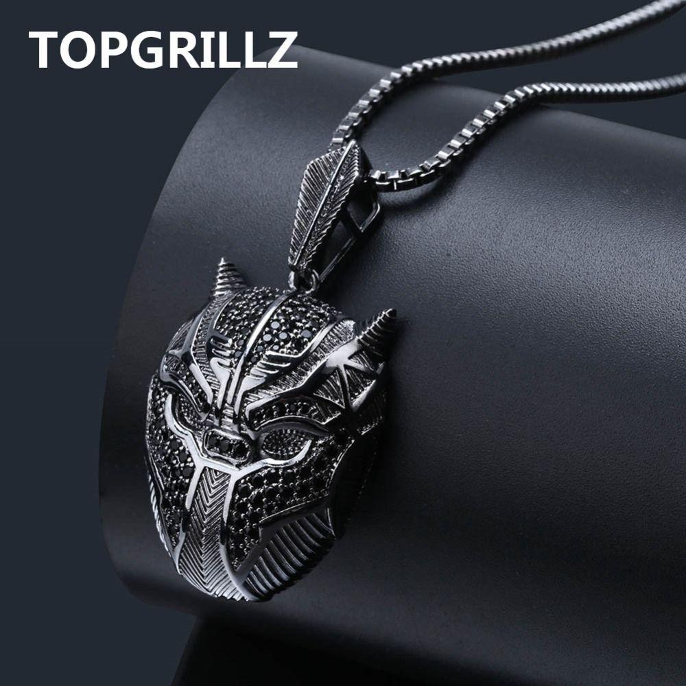 """TOPGRILLZ Hip Hop Black Panther Iced Out ожерелье мужчин ювелирные подарки с коробкой Цепь 24"""" Q1107"""