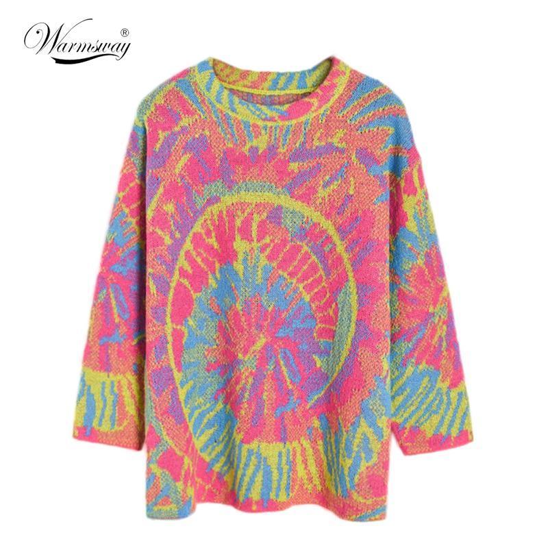 Queda 2020 tie-dye desproporcionado camisola Mulheres forma solta O pescoço mohair tricô capuz senhoras sobredimensionar camisola ligação em ponte B-125