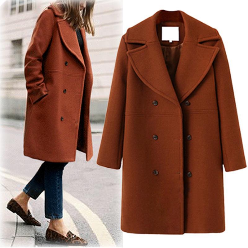 Women Winter Coat Jacket Oversized Chic Button Slim Turn Down Collar Woolen Outerwear Overcoat Casaco Feminino S-XL