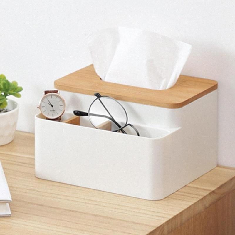 Holz Tissue Box mit 3 Movable Compartments Organizer Mehrzweck Desktop-Organizer für Home Office 2Ixu #
