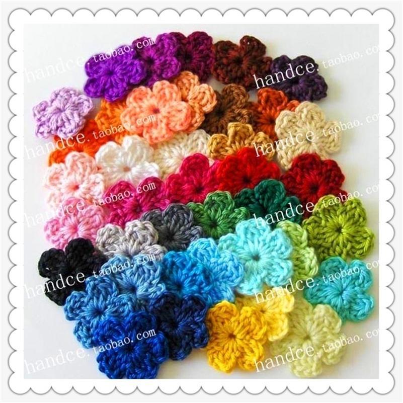 Frete grátis 100 pic / lote colorido algodão crochet flores decorativas flores grinaldas para o festival de natal feriado diydecor 201127