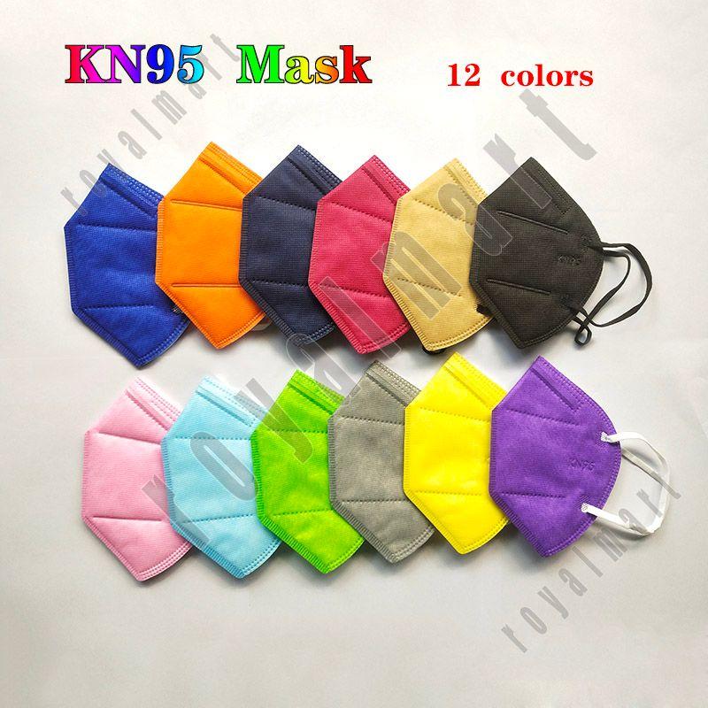 قناع الوجه KN95 بدون صمام 95٪ فلتر FFP2 NR قناع ملون المنشط الكربون تنفس 5 طبقة قناع الوجه