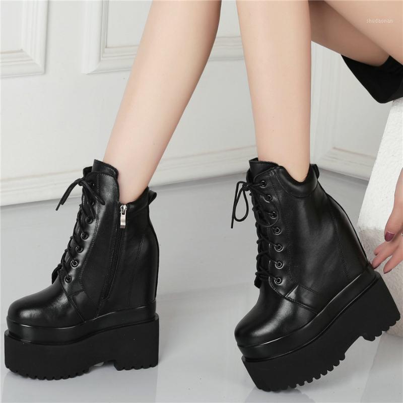 Ботинки зашнуровать коренастые платформы для женщин коровы кожа кожа высокий каблук лодыжки женский верхний круглый носок модные кроссовки повседневная обувь1