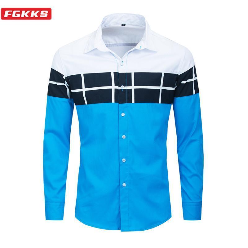 FGKKS Spring Autumn New Men Lapel Shirt Men's Fashion Shirt Male Patchwork Casual Long Sleeve Shirts EU Size