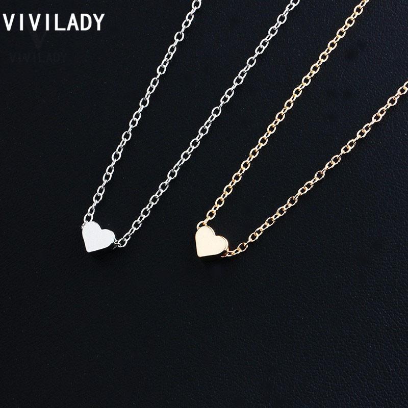 Viivlady 36pcs / lote preço atacado moda minúsculo coração colares pingentes de ouro cadeia de cor bonito presentes mulheres meninas mãe jóias j1218
