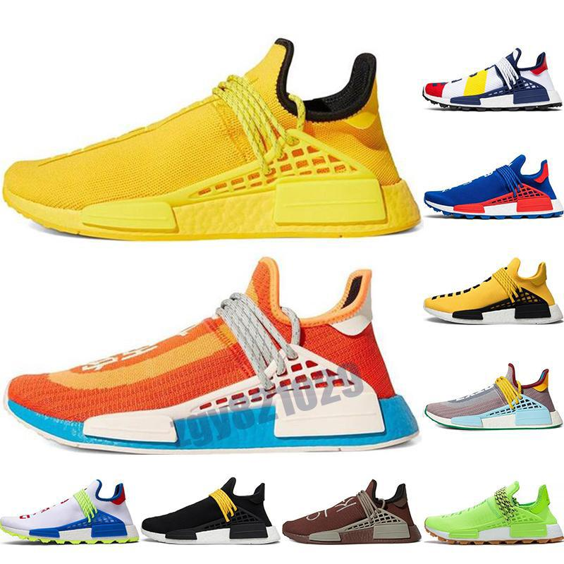 PW HU Holi NMD MC Pharrell Williams человеческая гонка мужская обувь жирным оранжевым шоколадом желтые женщины мужские тренеры спортивные кроссовки EUR 36-45 Z39