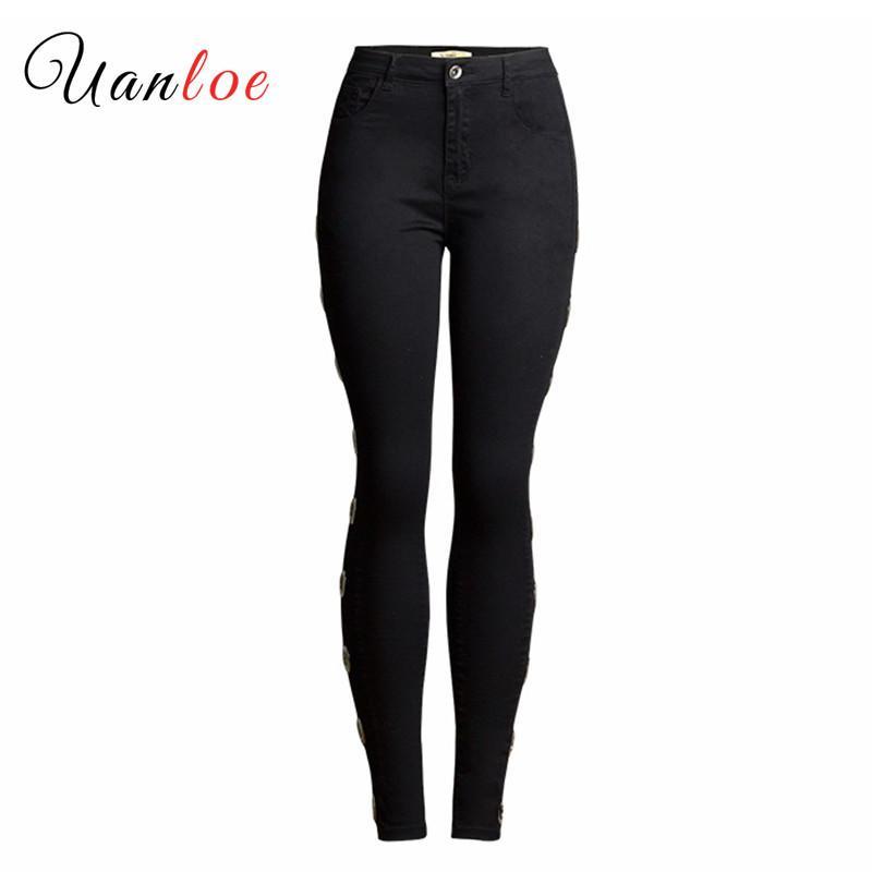 İnce İnce Stretch Pantolon Pantolon Bayan 3XL 2019 İlkbahar Kadın Giyim Siyah Denim Jeans Plus Size Casual Pamuk Kalem Pant