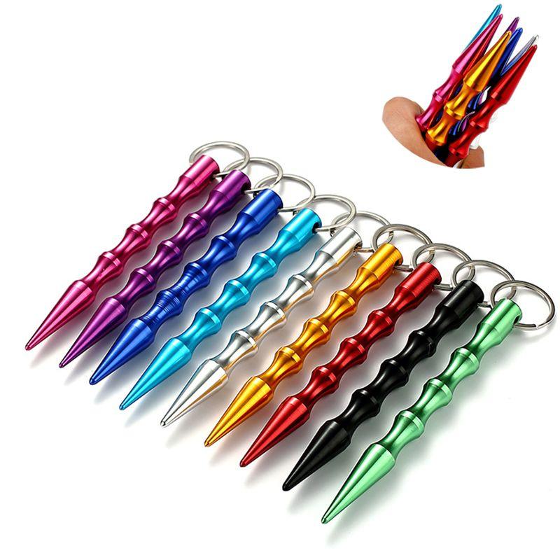 Алюминиевая самооборона Брелок Manganing Stick Cars Щетки Персональный Safty Key Chape Charm Char Keyring 9 Цветов