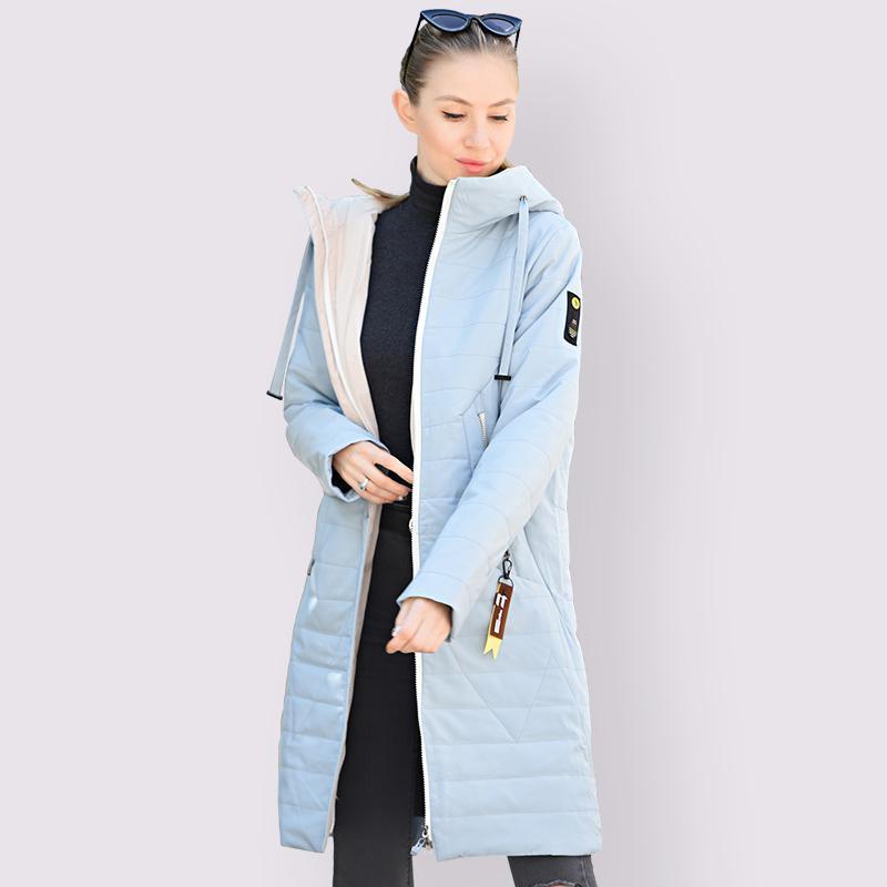 Nova Primavera Mulheres Autumn casaco quente fino de algodão Jacket Longo Plus Size 6XL 58/60 moda de alta qualidade Exteriores Parka com capuz 201014
