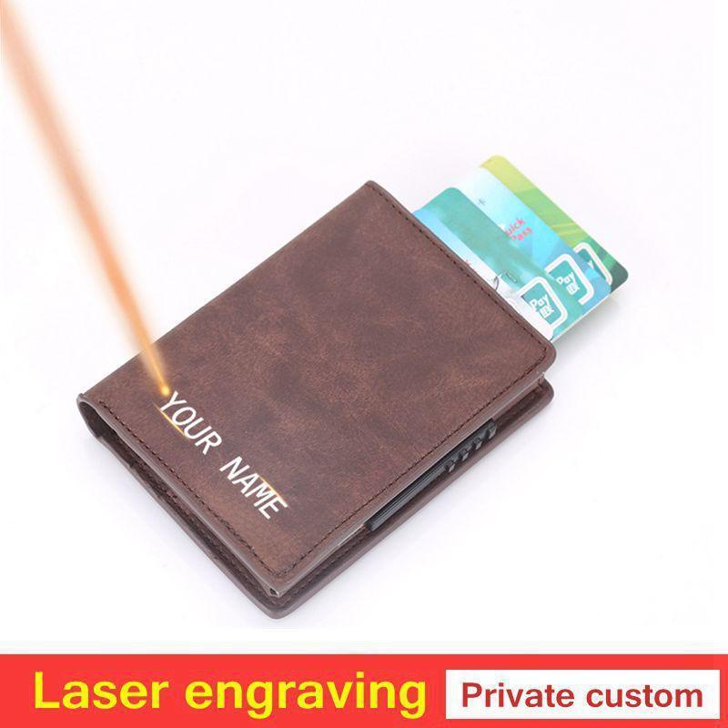Portafogli da donna Incisione laser Donne Portafogli RFID Supporto per blocco in alluminio Mini Slim Slim ID Scheda Scheda Piccoli Borse ID Cardholder