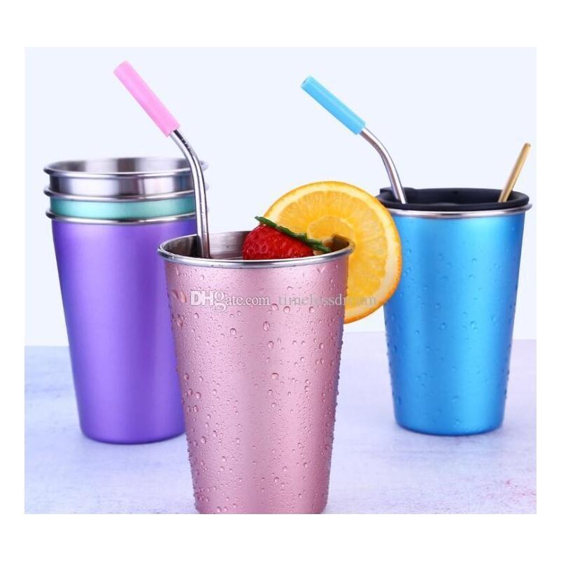 Ins Style Birra Tazza Durable Water Tazza di acqua Colorata Tazza da caffè in acciaio inox Tumbler 5 colori da scegliere