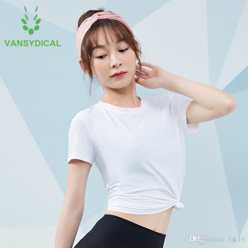Vansydical Спорт Йога рубашки Женщины Тонкий белый Gym с коротким рукавом Топы Нейлон Quick Dry Summer Фитнес тренировки Бег футболки