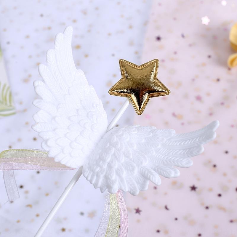 asas criativas fita branco cozer cozido decoração tridimensional Estrela criativa asas de anjo fita plug-in baking bolo cozido decoração de três