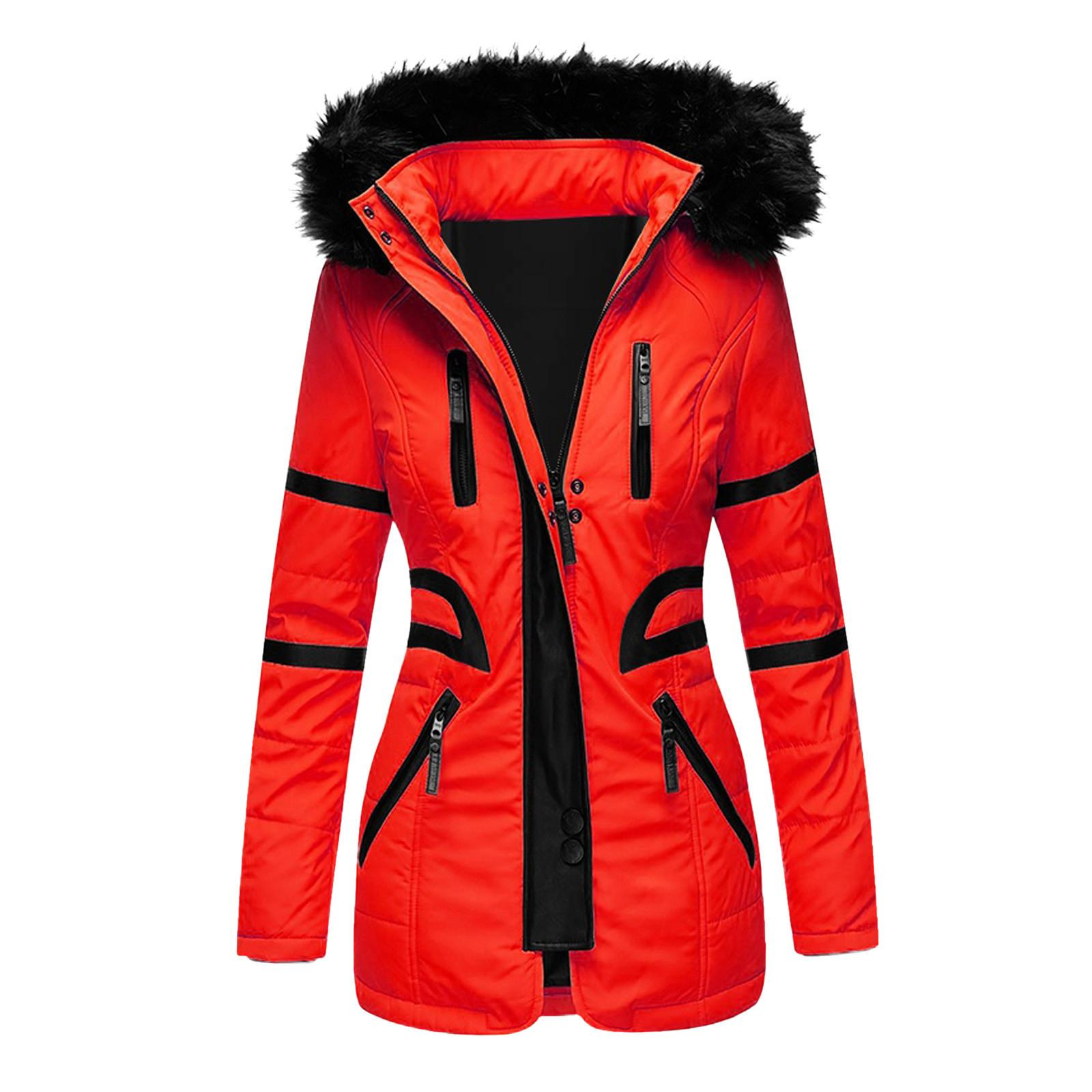 Faux Leather Jacket Women's Warm Coat Outwear Fur' Lined Trench Winter Clothes Hooded Thick Overcoat Cardigan X1016