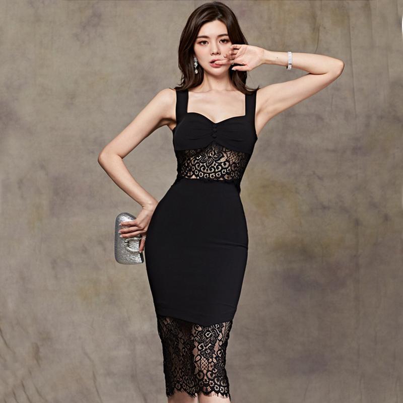 HAYBLST Brand Женщина платье 2020 лето сексуального платья для женщин Condole Пояс Одежды PlusSize Корейского Стиль Тонкого Кружева Черной Одежда