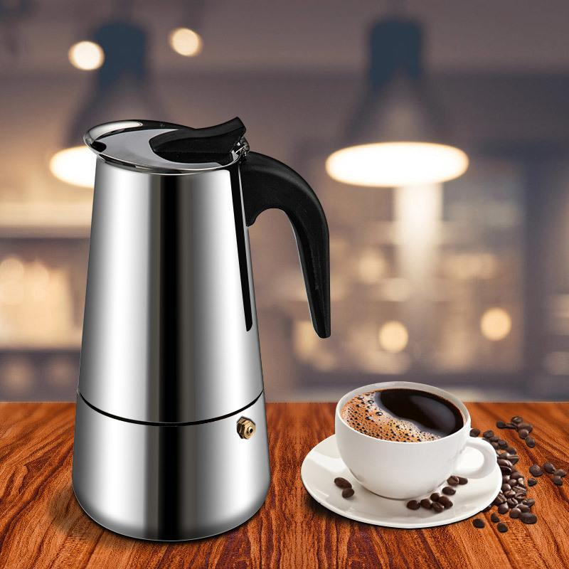Aço inoxidável Top italiano Moka Latte Espresso Coffee portátil Criador Stovetop Filtro de café Pots Percolator