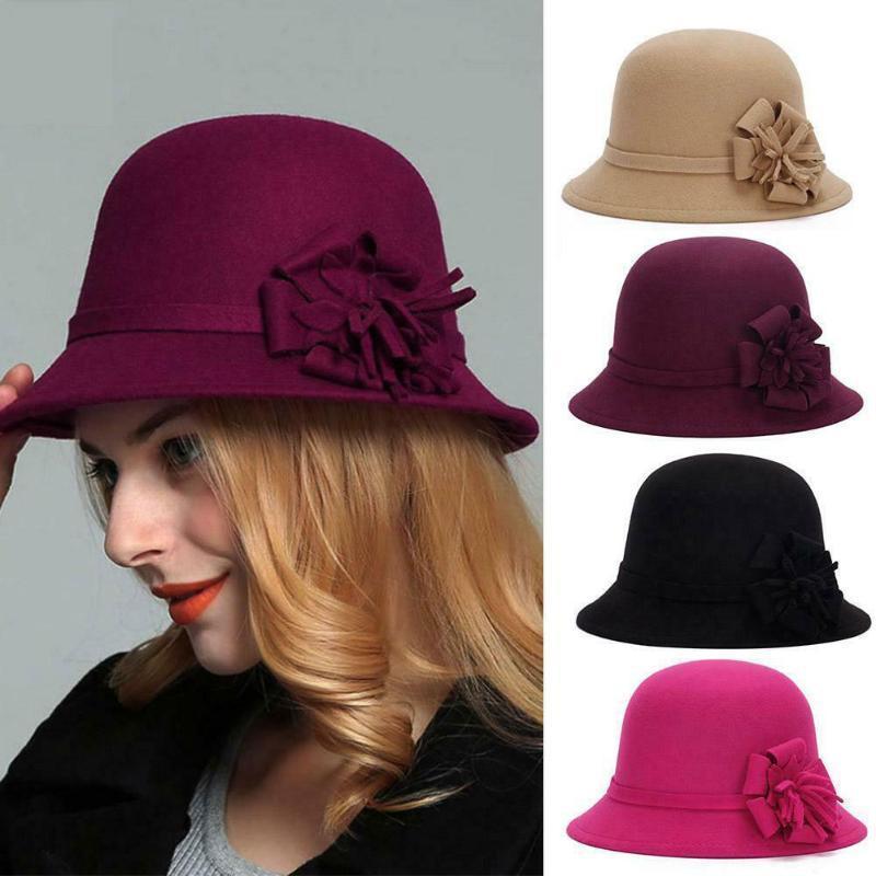 Kadın Melon Kap Çiçek Zarif Tatil Yuvarlak Yuvarlak Brim Moda Cloche Sıcak Sonbahar Kış Vintage İmitasyon Yün Kova Şapka
