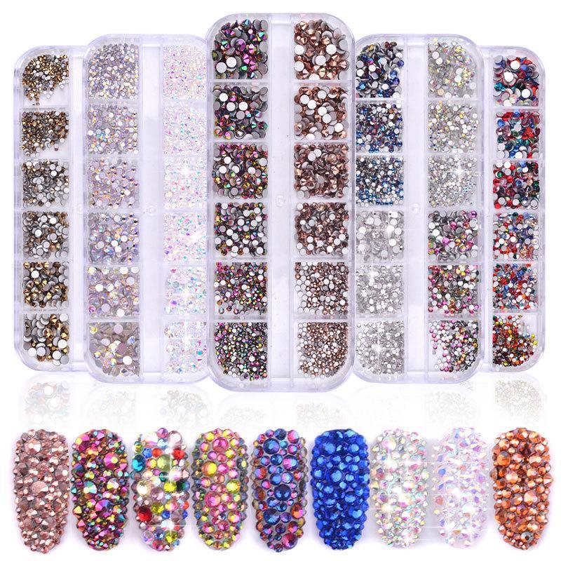 12 Grids bunten Kristall Nail Art Strass Acrylnagel Steine Perlen Ohrstecker flache Rück Glänzende Tipps 1440pcs Klar runde Kristallsuperglanz