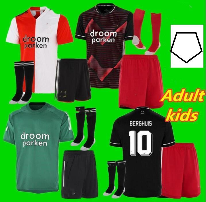 20 21 взрослых детей Feyenoord Home Soccer Jerseys Full Set 2020 2021 Child V.Persie Jorgensen Berghuis Vilhena Футбол для футбола