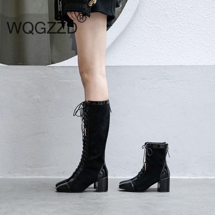 Bottes Femme printemps Chaussures d'automne Femme's Bottes en cuir véritable à lacets Sexy Movie Star Bottines Zapatos Mujer1