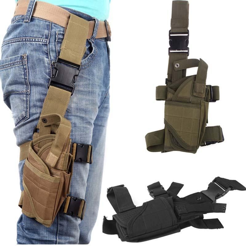 5 couleurs réglable tactique Puttee Cuisse Leg Shouder Pistolet Gun Holster Pouch Camping wrap-around Chasse de plein air Accessoires