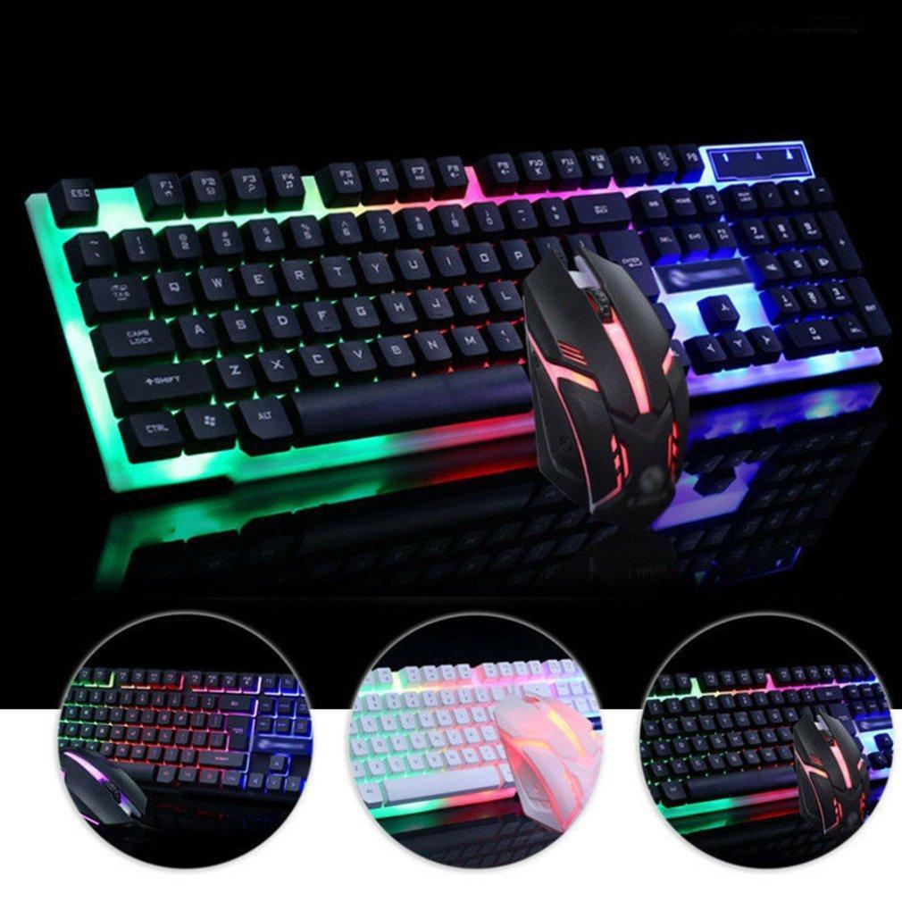computadora de la oficina brillante llevado, atado con alambre teclado mecánico y un kit USB del ratón