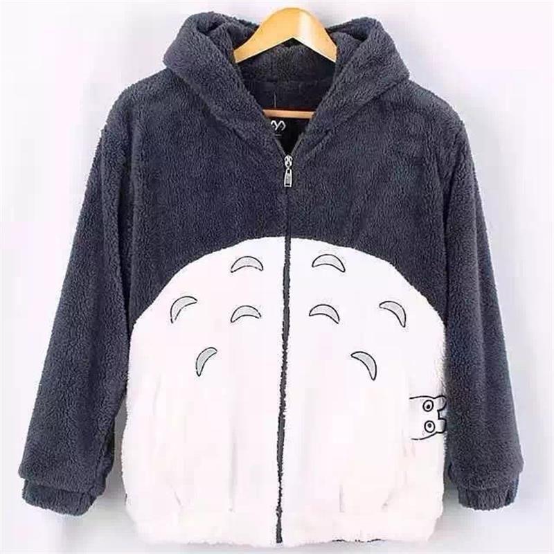 New Harajuku Totoro Kawaii Hoodie Sweatshirt My Neighbor Coat Cosplay Fleece Overcoat With Ears Harajuku Cute Jackets