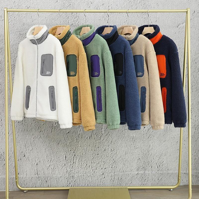 Mens Fleece Inverno suporte Jacket Collar Casual Parkas Homens Zip Up soltas masculinos Coats Jacket Inverno Sólidos Men