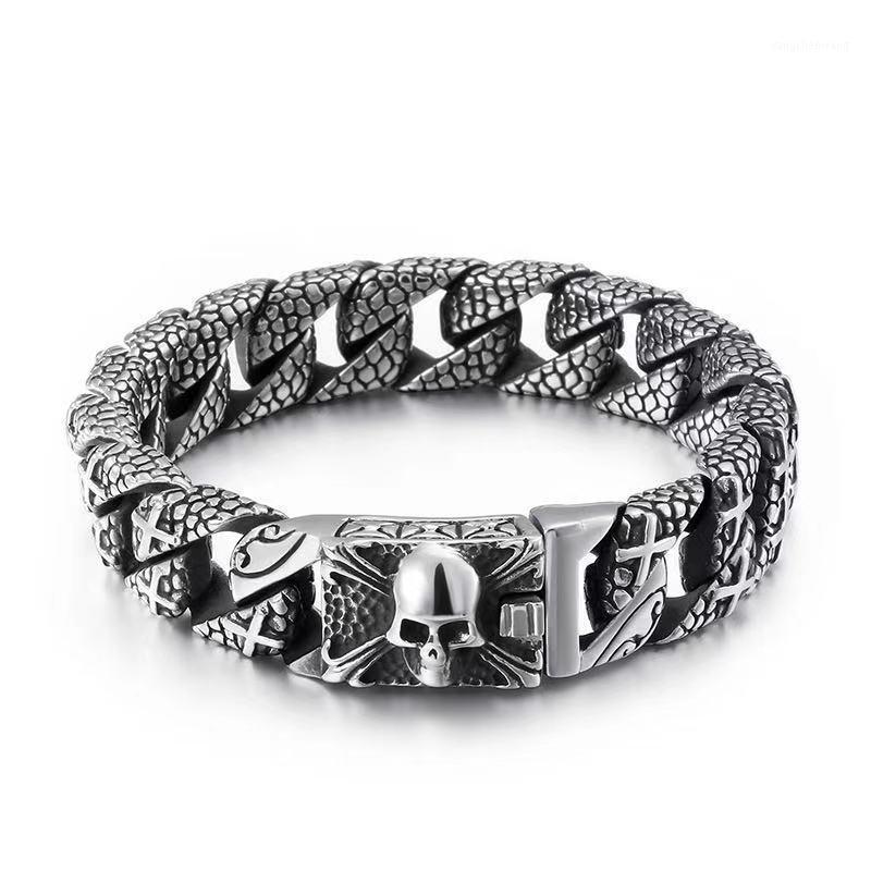 316 Stainless steel biker skull cool men.s charms bracelet for men.s jewelry1