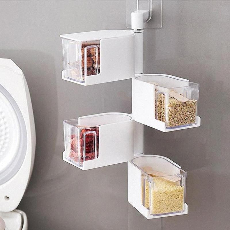 Tempero Box Multi-camada de gaveta Sem perfuração Wall-montado rotativa Grade plástico ABS Kitchen Spice Container 2zjt #