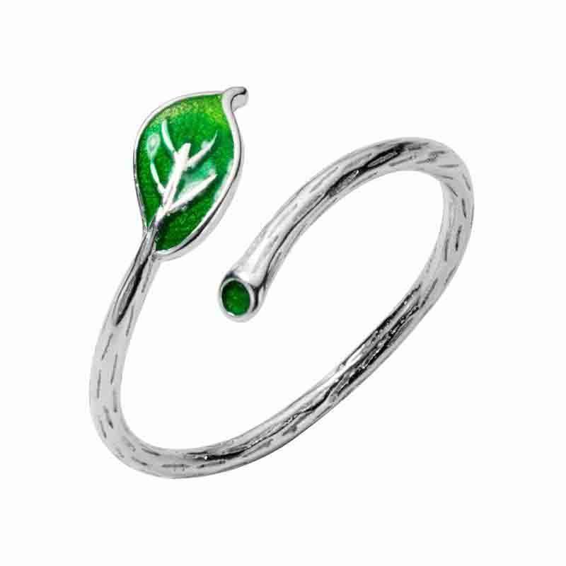 Verde dello smalto foglio dell'annata Anello registrabile elegante Fine Jewelry Per gli accessori del partito del regalo delle donne