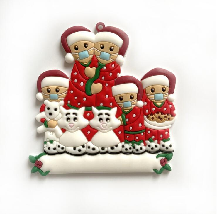 2020 una familia de decoración colgante del árbol de navidad del muñeco de nieve colgante de PVC DIY nombre bendición ydydtd